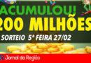 Mega-Sena acumula em R$ 200 milhões