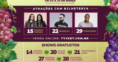 Começa a venda de ingressos para shows da Festa da Uva de Vinhedo