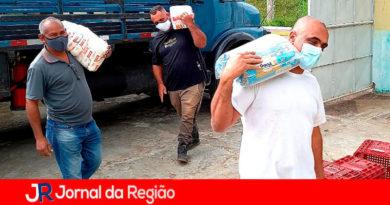 Doação de alimentos em Várzea Paulista. (Foto: Divulgação)